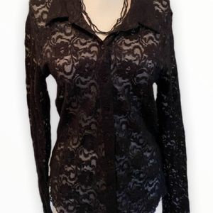 Harlow Black lace button up stretch blouse size L